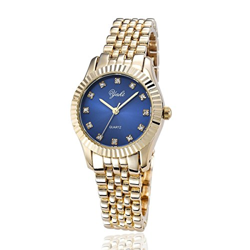 YAKI Elegante Damen Armbanduhr Damenuhren Modeuhr Analog Quarz Uhr Blau