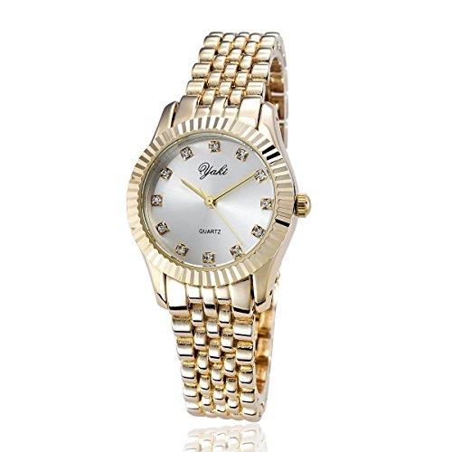 YAKI Elegante Damen Armbanduhr Damenuhren Modeuhr Analog Quarz Uhr Weiss Neu