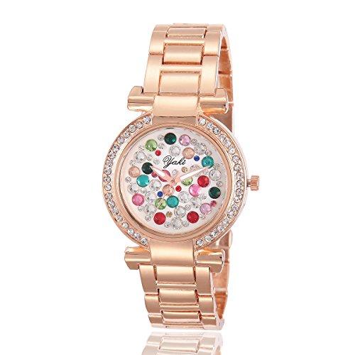 YAKI Fashion Damen Armbanduhr Casual Luxus Strass Analog Quarz Uhr Rose Gold Armband