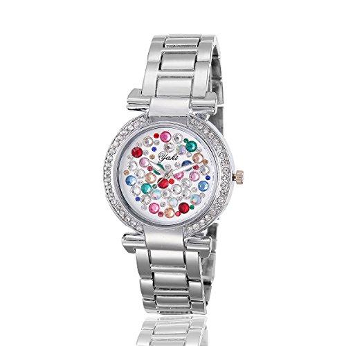 YAKI Fashion Casual Luxus Strass Analog Quarz Uhr weiss Armband