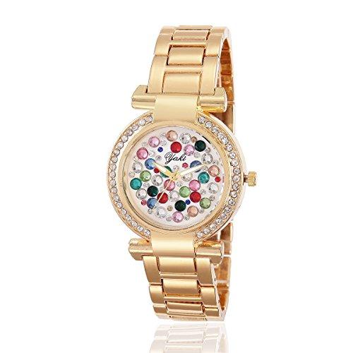 YAKI Fashion Damen Armbanduhr Casual Luxus Strass Analog Quarz Uhr Gold Armband