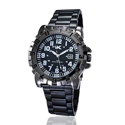 YAKI Herren Casual Armbanduhr Analog Quarz Uhr Kalender 3ATM Wasserdicht Weiss