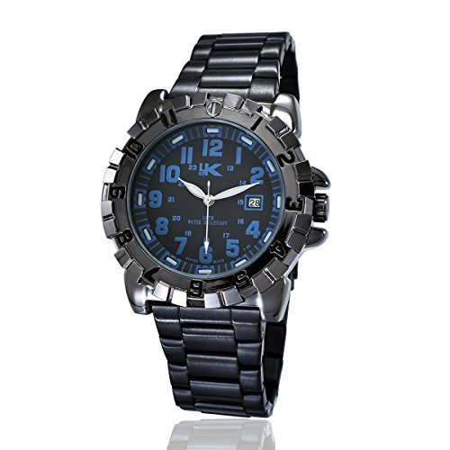 YAKI Herren Casual Armbanduhr Analog Quarz Uhr Kalender 3ATM Wasserdicht Blau