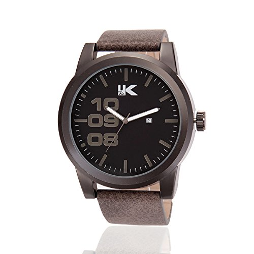 YAKI Herren Armbanduhr Casual Sport Analog Quarz Uhr mit Datum 3ATM Wasserdicht Grau Armband