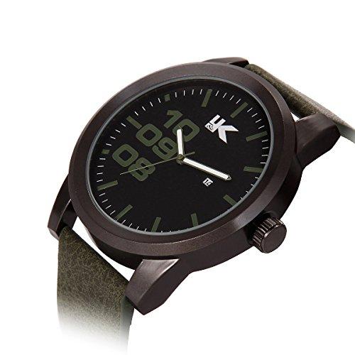 YAKI Herren Armbanduhr Casual Sport Analog Quarz Uhr mit Datum 3ATM Wasserdicht Gruen Armband