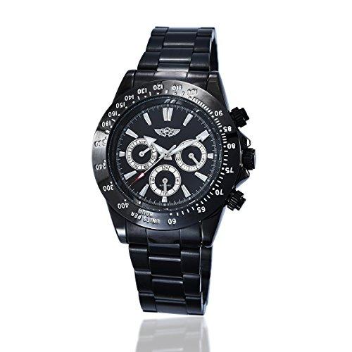 YAKI Elegante Klassische Mechanische Automatikuhr Automatik Armbanduhr Herrenuhr Schwarz 1341 B