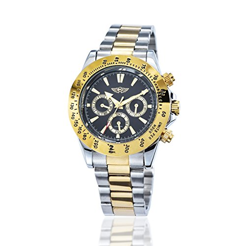 YAKI Elegante Klassische Mechanische Automatikuhr Automatik Armbanduhr Herrenuhr Gold 1341 Y