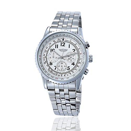 YAKI Elegante Klassische Mechanische Automatikuhr Automatik Armbanduhr Herrenuhr Weiss 1048 W