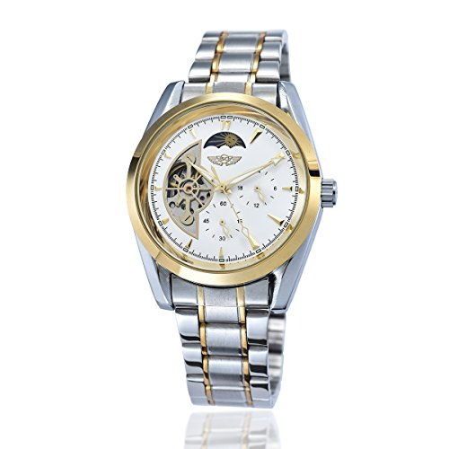 YAKI Elegante Klassische Mechanische Automatikuhr Automatik Armbanduhr Herrenuhr Weiss 1113 W