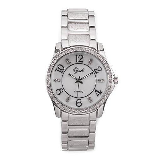 YAKI Fashion Luxusuhren Damenuhren Armbanduhr Analog Quarz Uhren Uhr Damen Weiss Armband Weiss Zifferblatt SL8438 W