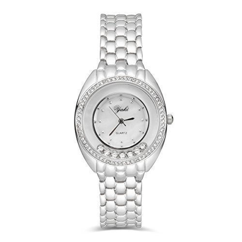 YAKI Fashion Luxusuhren Armbanduhr Analog Quarz Uhren Uhr Damen Weiss Armband Zifferblatt 0475 W
