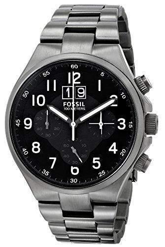 Fossil Herren-Armbanduhr XL Qualifier Chronograph Quarz Edelstahl CH2905