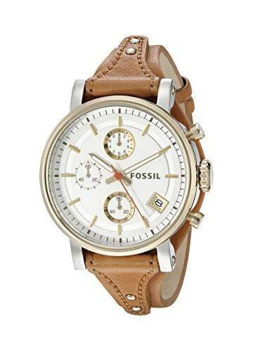 Fossil ES3615 BOYFRIEND Chronograph Uhr Damenuhr Lederarmband Bicolor 50m Analog Chrono Datum braun