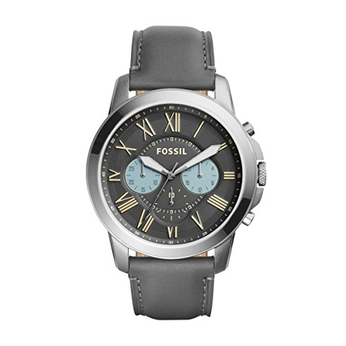 Fossil FS5183 GRANT Chronograph Uhr Herrenuhr Lederarmband Edelstahl 50m Analog Chrono grau