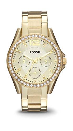 Fossil Damen Armbanduhr Riley Analog Quarz One Size gold gold