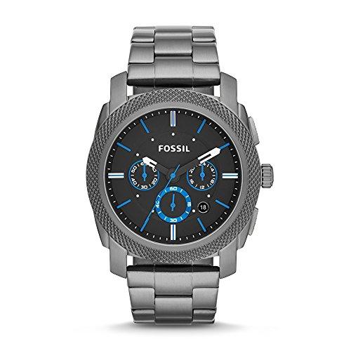 Fossil Edelstahl Armbanduhr Machine Schwarz Blau Chronographen Uhr mit grossem Ziffernblatt lumineszierenden Zeigern Datumsanzeige Edelstahlarmband im zeitlosen Industrial Look