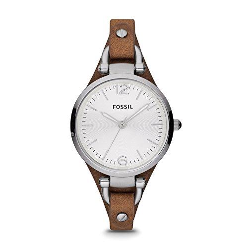 Fossil Georgia silber Analoge Vintage Armbanduhr im Boyfriend Stil grosses Ziffernblatt schmales braunes Lederband