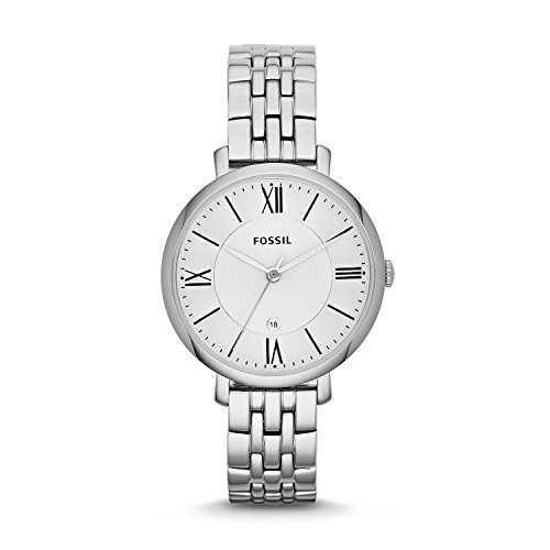 Fossil Jacqueline Edelstahlarmband Uhr fuer Damen silber Edelstahl Uhr mit Quarz Uhrwerk analoger Datumsanzeige idealer Begleiter fuer jede Gelegenheit