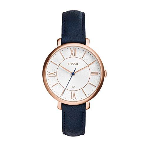 Fossil Jacqueline Leder Armbanduhr Damen blau Mit Edelstahlgehaeuse rosegold Quarz Uhrwerk analoger Datumsanzeige idealer Begleiter fuer jede Gelegenheit