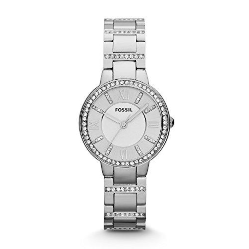 Fossil Virginia Edelstahl Armbanduhr mit Quarz Uhrwerk Stylische Analoguhr mit Glitzersteinen auf Gehaeuse Uhrenarmband fuer einen glamouroesen Auftritt