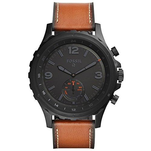 FOSSIL Q FTW1114 Fossil Q NATE HYBRID Smartwatches Uhr Herrenuhr Lederarmband Edelstahl 5 bar Analog Datum Alarm braun