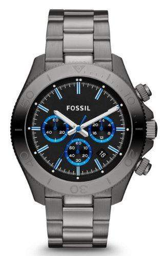Fossil Herren-Armbanduhr Retro Traveler Analog Quarz Edelstahl grau CH2869