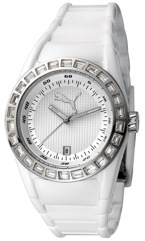 Puma Damen-Armbanduhr Analog Disc Injection - S White with Stones Quarz APU910702003