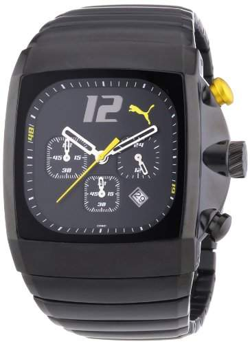 PUMA TIME Herren-Armbanduhr CHARGER BLACK YELLOW CHRONO Chronograph Quarz 4419901