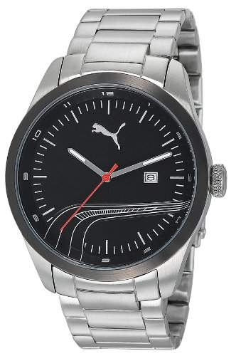 Puma Time Herren-Armbanduhr XL Stripe Metal Silver Black Analog Quarz Edelstahl PU102531004