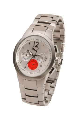 Puma Move Gents Silber und Rot Chrono Zifferblatt Edelstahl Armband Armbanduhr