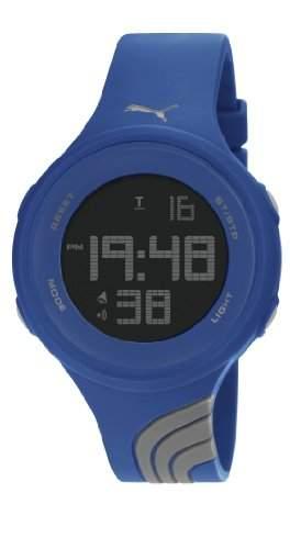Puma Twist L Unisex Digital Uhr mit LCD Zifferblatt Digital Display und grau PU Gurt pu911091009