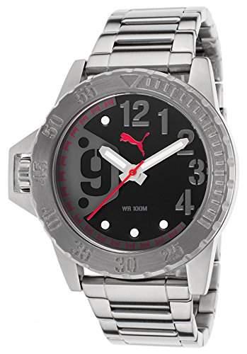 Puma Herren-Armbanduhr 45mm Armband Edelstahl + Gehaeuse Quarz Zifferblatt Schwarz Analog PU103761001