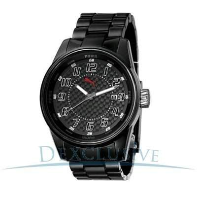 Puma Time Herren-Armbanduhr XL Race Injection - L Black Large Analog Quarz Plastik PU910631001