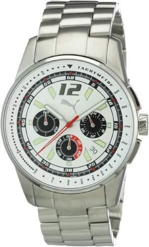 Puma Time Motorsport Herren-Armbanduhr Race Luminous Chrono Metal Silver White Chronograph Quarz APU102161002