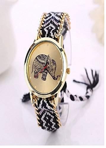 Culater® Frauen ethnisch Elefant Muster gestrickt gewebte Seil Band Armband Armbanduhr schwarz+weiss