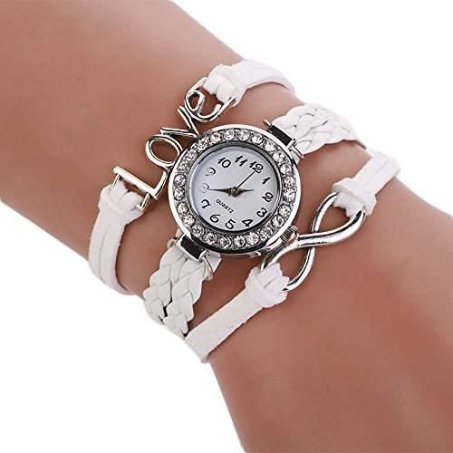 Culater Damen-Armbanduhr, weiches Leder, Unendlichkeitssymbol, handgestrickt, Quarzuhr, Weiß