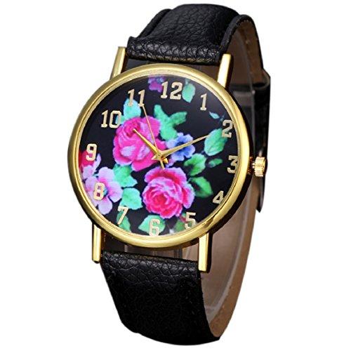 Culater Mode Frauen Retro Bunt Rose Blume Kleid Uhr Blumenmuster Zifferblatt Armbanduhr schwarz