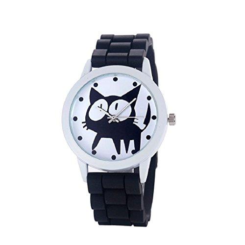 Culater Damen Kaetzchen Kitty Muster Silikon Band Armband Armbanduhr Schwarz