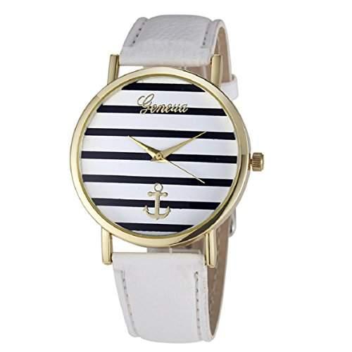 Culater Damen Maedchen Streifen Anker PU Leder Uhr Armbanduhr Gold Weiss