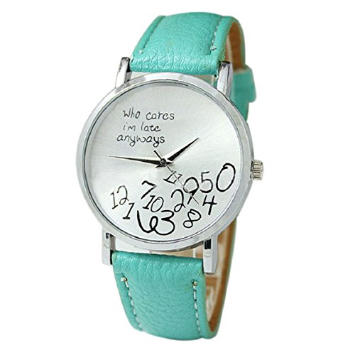Culater neu Bunt Frauen einfach Who Cares I am Late Anyway Leather Band Uhr Armbanduhr himmelblau