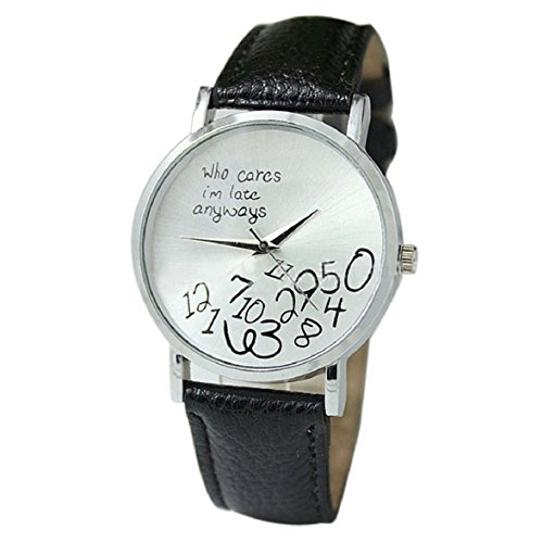 Culater neu Bunt Frauen einfach Who Cares I am Late Anyway Leather Band Uhr Armbanduhr schwarz