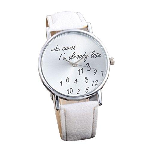 Culater Frauen einfach Persoenlichkeit Strass PU Leder Uhr Armbanduhr weiss
