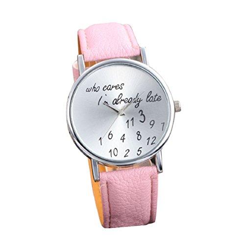 Culater Frauen einfach Persoenlichkeit Strass PU Leder Uhr Armbanduhr rosa