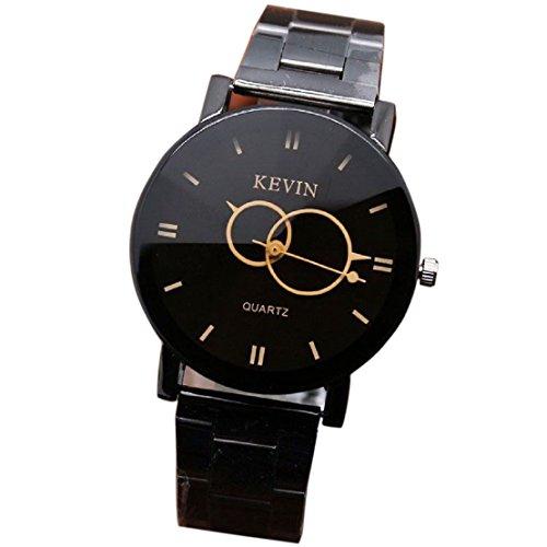 Culater Herren Mode Entwurf Schwarz Edelstahl Quartz Analog Armbanduhr