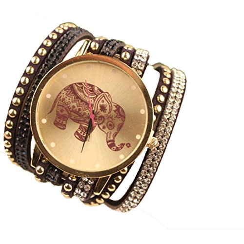 Culater Frauen ethnisch Samt Diamant Elefant Muster gestrickt Armband Armbanduhr schwarz