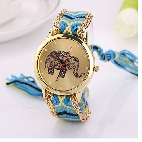 Culater Frauen ethnisch Elefant Muster gestrickt gewebte Seil Band Armband Armbanduhr gelb blau