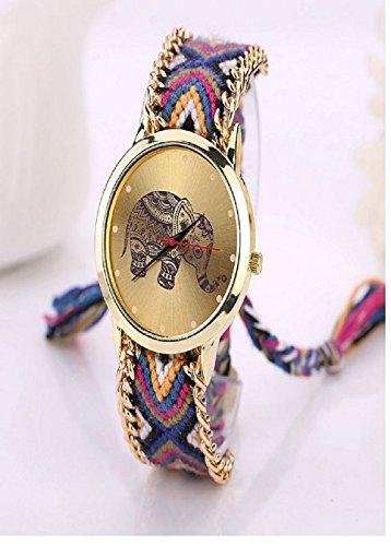 Culater Frauen ethnisch Elefant Muster gestrickt gewebte Seil Band Armband Armbanduhr lila schwarz