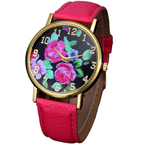 Culater Mode Frauen Retro Bunt Rose Blume Kleid Uhr Blumenmuster Zifferblatt Armbanduhr rot