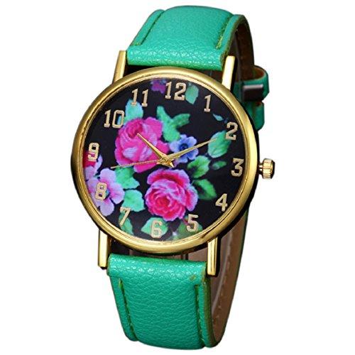Culater Mode Frauen Retro Bunt Rose Blume Kleid Uhr Blumenmuster Zifferblatt Armbanduhr gruen
