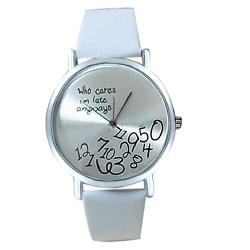 Culater Frauen einfach Who Cares I am Late Anyway Leather Band Uhr Armbanduhr weiss